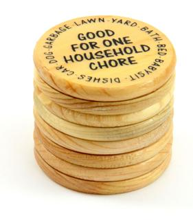 Wooden Coin Beetle Kill Pine Plank Cut Coins